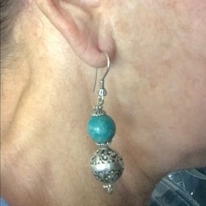 Silver & turquoise hanging earring!